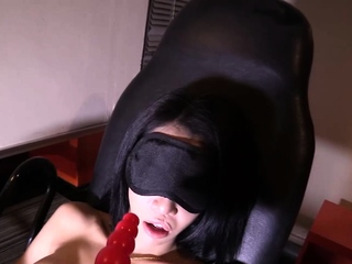 Blindfolded Ladyboy Alice Gets a Dildo and Cock in her Butt