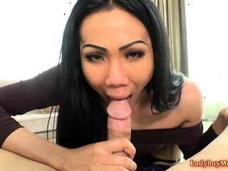 Luscious Ladyboy Swan Strips and Rides a Hard Dick